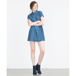 "ZARA ""Essentials"" Short Sleeve Denim Mini Dress"
